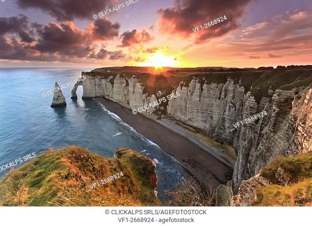 Sunrise over the cliff of Etretat in Normandy, France