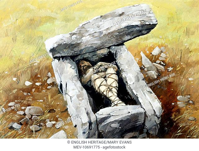 Drixxle Combe A reconstruction drawing of the ossuary burial cist by Ivan Lapper