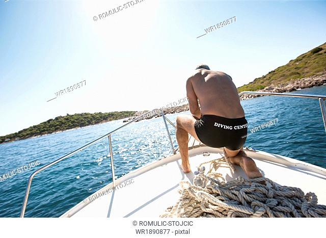 Man on Boat, Adriatic Sea, Dalmatia, Croatia