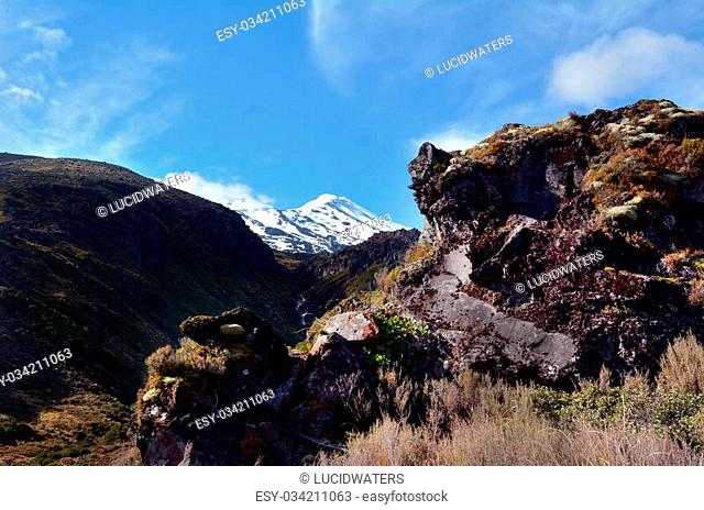 NATIONAL PARK, NZ - DEC 8 2014:Rock formation on Mount Ruapehu.Ruapehu is one of the world's most active volcanoes and the largest active volcano in New Zealand