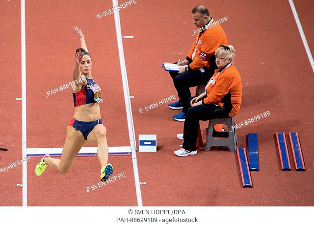Ivana Spanovic from Serbia in action during the long jump qualification event at the European Indoor Athletics Championships in the Kombank Arena in Belgrade