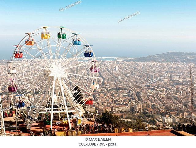 View from the Tibidabo amusement park with the Giradabo big wheel, Barcelona, Catalonia, Spain