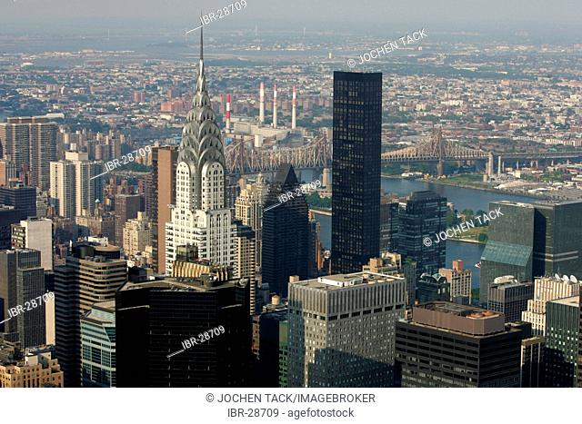 USA, United States of America, New York City: View of the sky scraper panorama of Midtown Manhattan, from the Empire State building