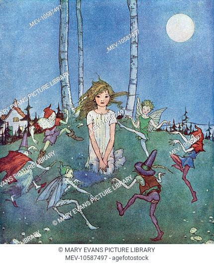 A young girl kneels as a group of elves, pixies, fairies and imps dance in a circle around her