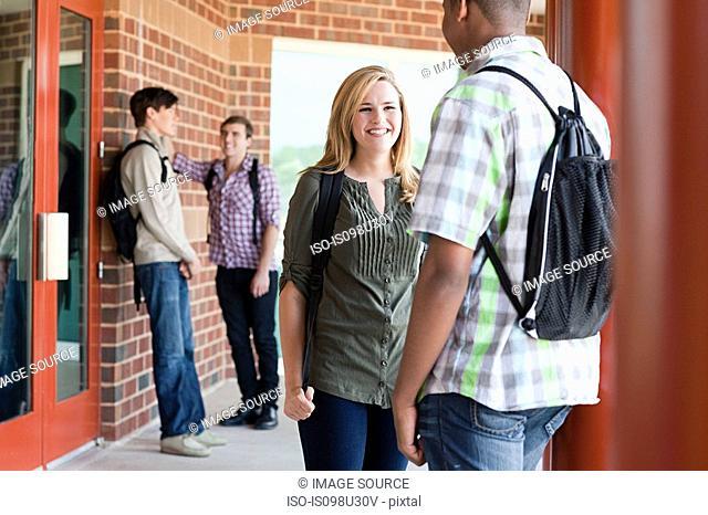 High school classmates chatting