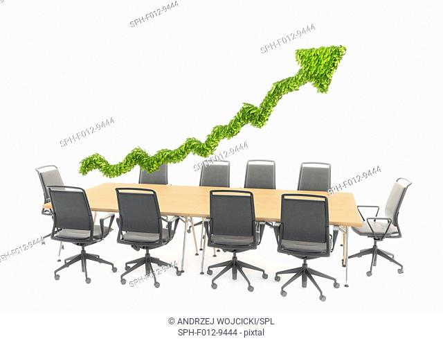 Business meeting table with a green arrow, illustration