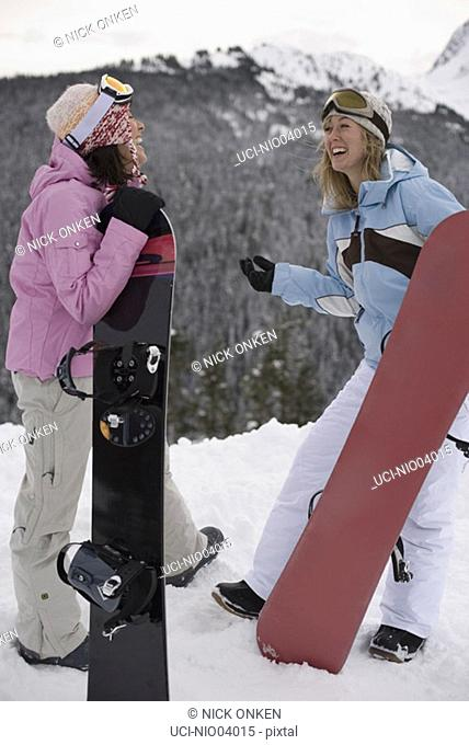 Young women holding snowboards at top of slope