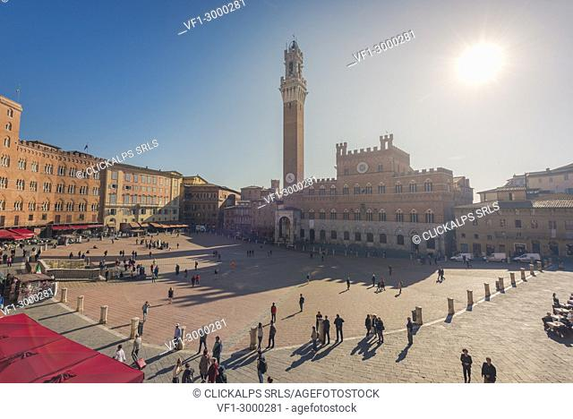 Siena, Tuscany, Italy, Europe. Panoramic view of Piazza del Campo with the historical Palazzo Pubblico and its Torre del Mangia