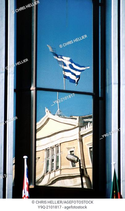 Greek Parliament Reflected in Office Block