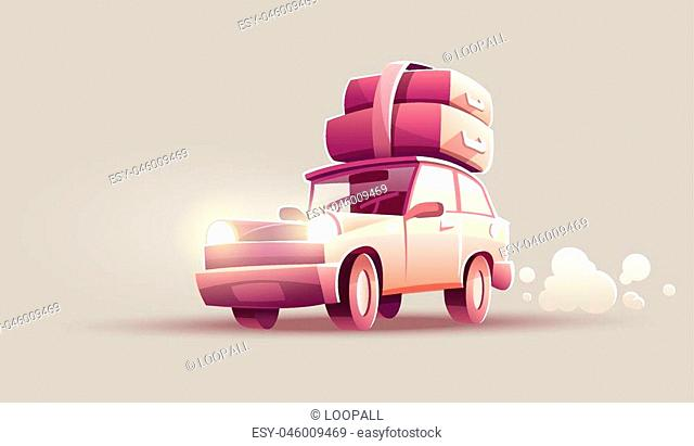 Vacation drive trip by car. Family travel retro transport vehicle with luggage suitcases and trunks at roof. Eps10 vector illustration