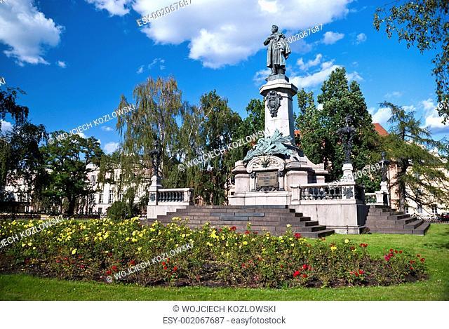 Statue of Adam Mickiewicz in Warsaw, Poland