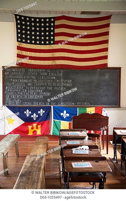 USA, Louisiana, Cajun Country, Lafayette, Vermilionville Cajun Creole Heritage and Folklife Park, schoolhouse interior