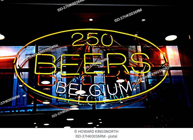 Neon sign advertising Belgian beer
