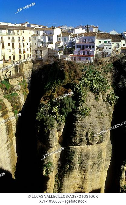 Houses on the gorge ``Tajo''  Ronda  Málaga province, Spain