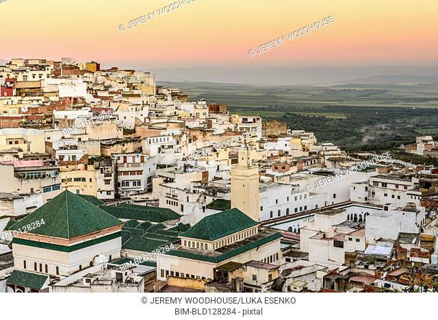Aerial view of Moulay Idriss cityscape, Zerhoun, Morocco