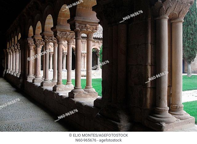 Romanesque cloister of St  Peter's collegiate church, Soria  Castilla-León, Spain