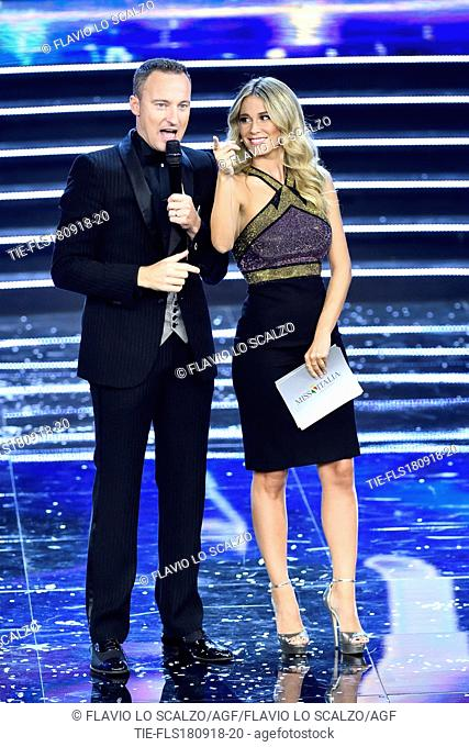 Tv presenters Francesco Facchinetti, Diletta Leotta at the final of Miss Italia 2018, Milan, ITALY-17-09-2018