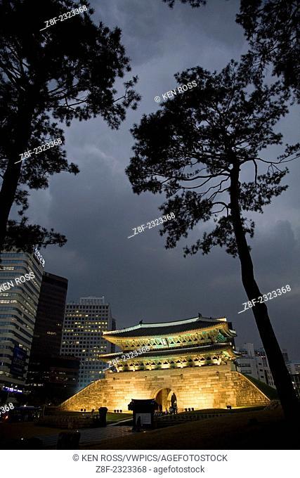 Namdaemun Gate At Night, Seoul, Korea