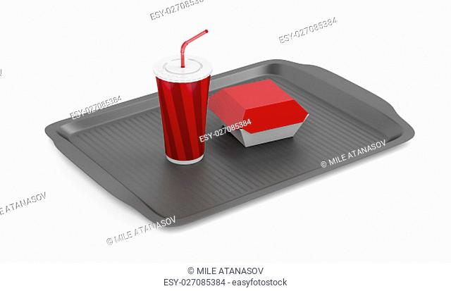 Plastic tray with soft drink and sandwich box on white background