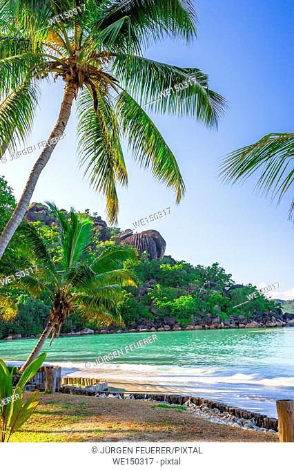 Beach of the Seychelles, Island Praslin, Beach Anse Volbert