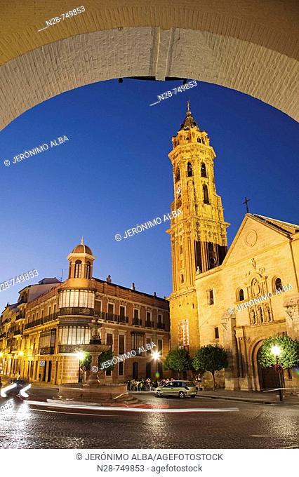 St Sebastian's collegiate church in the evening, Antequera. Malaga province, Andalucia, Spain