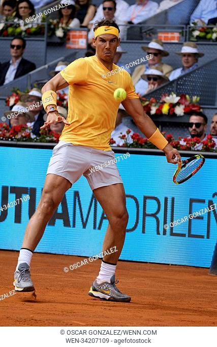 Rafael Nadal against Gael Monfils during day five of the Mutua Madrid Open tennis tournament at the Caja Magica on May 9, 2018 in Madrid, Spain