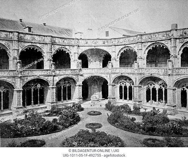 One of the first halftones, cloister of jeronimos monastery, lisbon, portugal, 1880