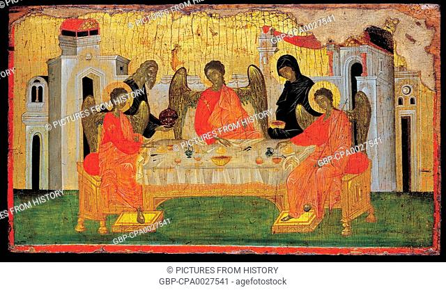 Greece / Byzantium / Turkey: 'The Hospitality of Abraham'. Constantinople (Istanbul), late 14th century, now in the Benaki Museum, Athens