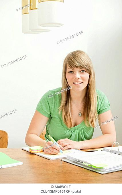 Female student with papers