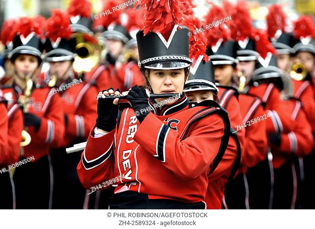 London, UK. New Year's Day parade Jan1 2016. Hinsdale Central High School Red Devil Marching Band - piccolo player