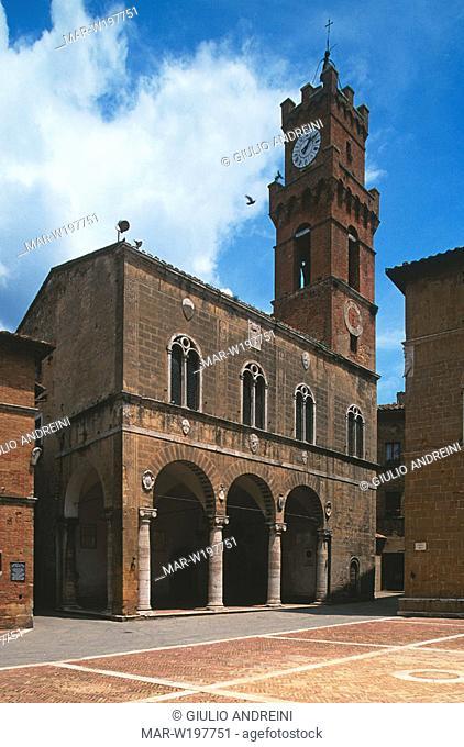 europe, italy, tuscany, pienza, city hall