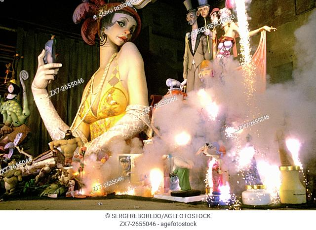 Valencia Fallas burning celebrations Spain, 19th March