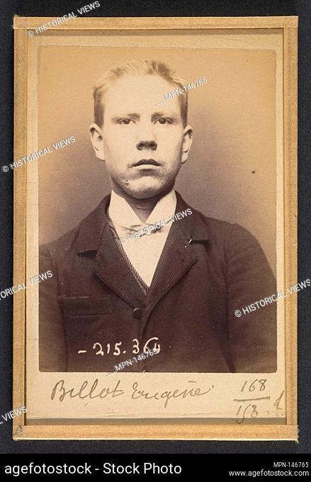 Billot. Eugène. 20 ans, né à La Charité (Nièvre). Tailleur d'habits. Anarchiste. 9/3/94. Artist: Alphonse Bertillon (French