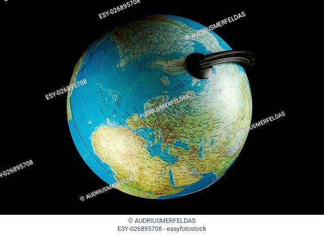 Earth plastic globe isolated