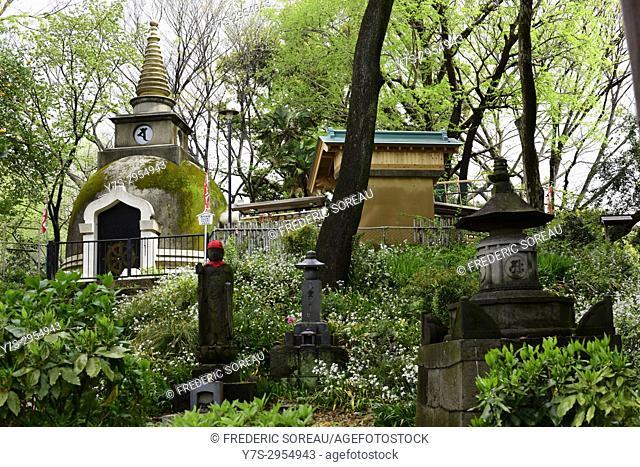 A Buddhist shrine in Ueno Onshi Park, Taito, Tokyo, Japan, Asia