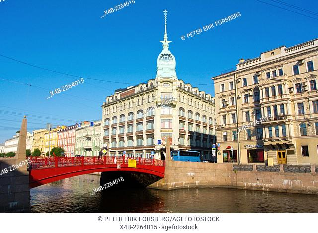 The Red Bridge and Esders and Scheefhals building, Moika riverside, Saint Petersburg, Russia, Europe