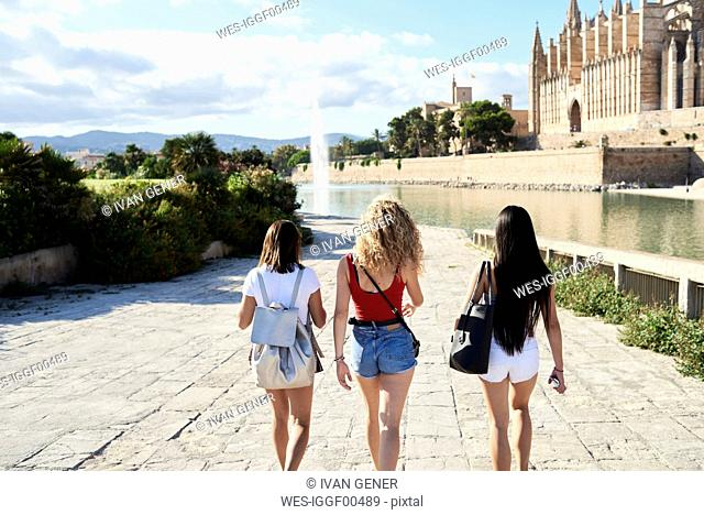 Spain, Mallorca, Palma, rear view of three young women exploring in the city