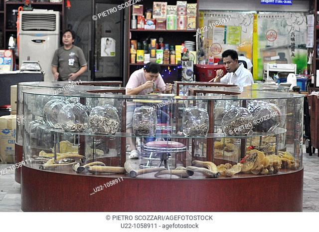 Bangkok (Thailand): a traditional Chinese pharmacy in Yaowarat Road, the main street in Chinatown