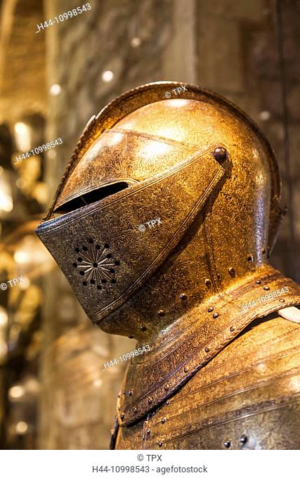 England, London, Tower of London, The White Tower, Exhibit of Guilt Armour Helmet of Charles I