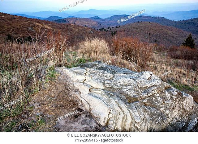 Rock patterns on Art Loeb Trail near Black Balsam Knob - Blue Ridge Parkway, North Carolina, USA
