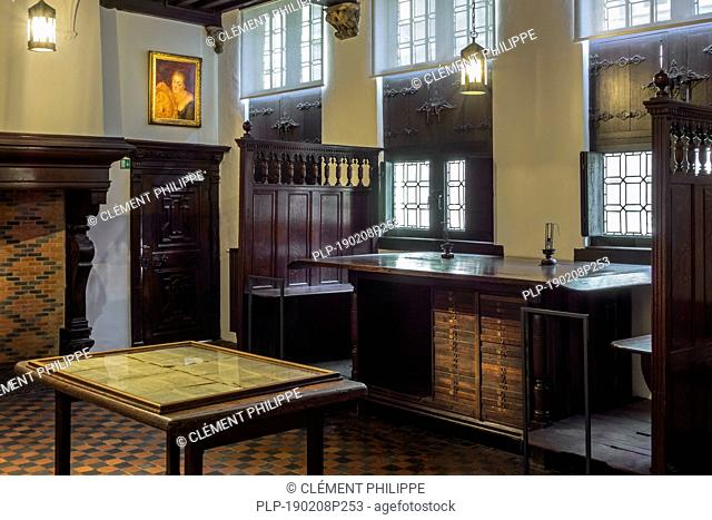Large table in the proofreading / proof-readers' room, Plantin-Moretus Museum / Plantin-Moretusmuseum about 16th century printers, Antwerp, Belgium