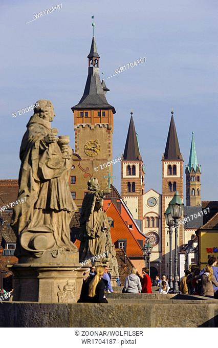 old river Main bridge in city Wuerzburg