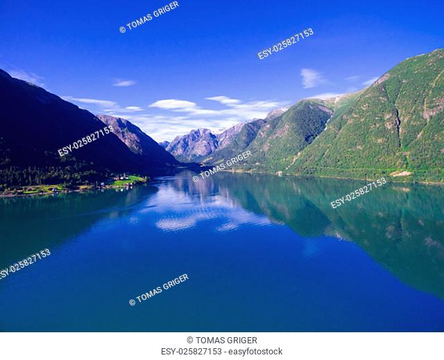 Scenic view of typical norwegian landscape - fjord Sognefjorden surrounded by mountains