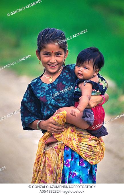 Children  Rice field  Pokhara Valley  Himalaya  Nepal