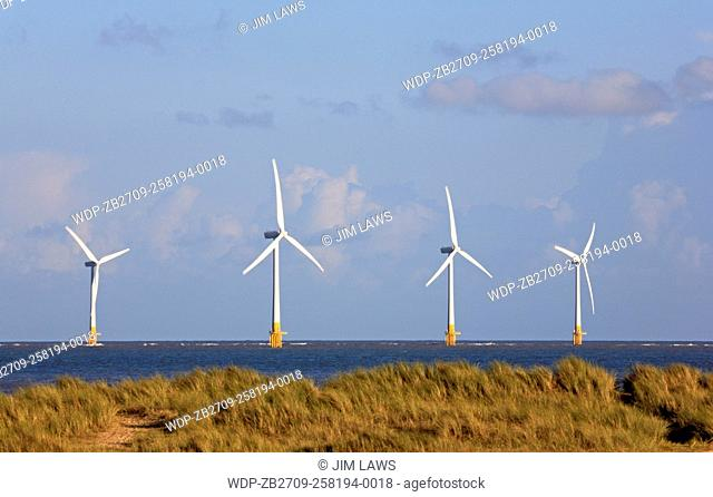 A view of turbines on the Scroby Sands Wind Farm off Great Yarmouth, Norfolk, England, United Kingdom