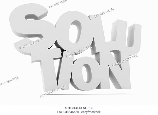 3d solution text, on white background