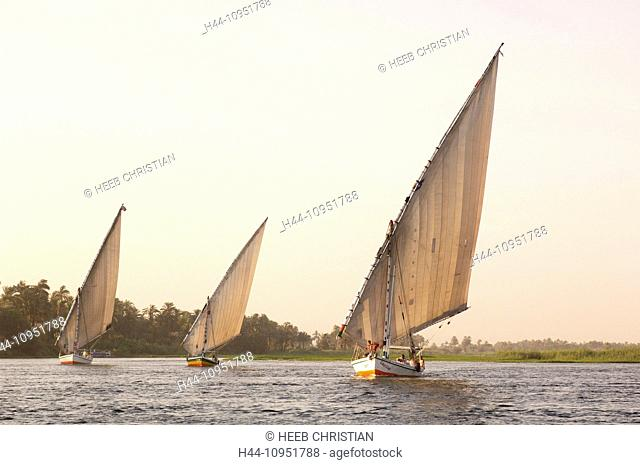 Africa, Egypt, Middle East, Felucca, Nile, River, Sail Boat, Luxor, travel