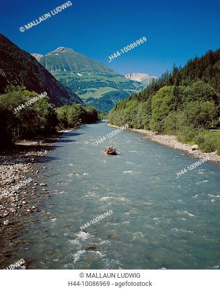 10086969, sport, River, rafting, water sport, sport, rubber dinghy, life raft, Austria, Europe, Tyrol, Lechtal, mountain river