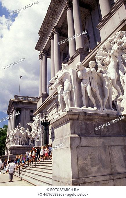 State Capitol, State House, Harrisburg, Pennsylvania, Statues next to the steps of the Capitol Building in Harrisburg the capital city in the state of...