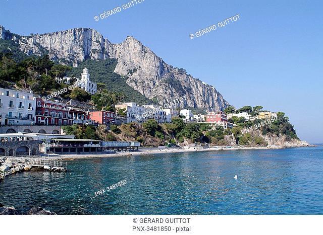 Italy, Amalfi Coast, Capri, Panorama, Marina Grande, San Stefano Church